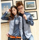 Wholesale - Fashionable Dots Design Denim Long-Sleeved Shirt for Lovers (717-330)