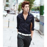 Wholesale - Individualized Fashionable Stars Style Deep Blue Shirt with Long Sleeves (1704-CY69)
