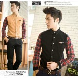 Wholesale - Fashionable Patch Style Slim Corduroy Checked Shirt (302-C02)