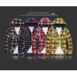 Wholesale - Hooded Slim Checked Shirt with Long Sleeves for Spring/Autumn