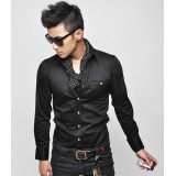 Wholesale - Pure Color Slim Shirt with Long Sleeves (9-1414-051)