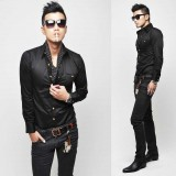 Wholesale - Fashionable Slim Pure Black Shirt with Long Sleeves (8-1018-C31)