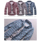 Wholesale - 100% Cotton Slim Checked Shirt with Long Sleeves (3-1310-W21)