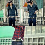 Wholesale - Fashionable Leisure Bicolors Checked Shirt with Long Sleeves (303-C69)