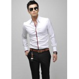 Wholesale - Charismatic Colored-Placket Leisure Shirt with Long Sleeves (412-05)
