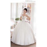 Wholesale - Halter A-line/Ball Gown Empire Georgette Beading Lace up Wedding Dress
