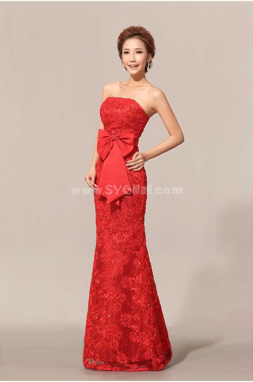 Strapless Floor-length Lace Zipper Wedding Dress