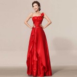 Wholesale - One Shoulder Floor-length Flora Chiffon Zipper Wedding Dress