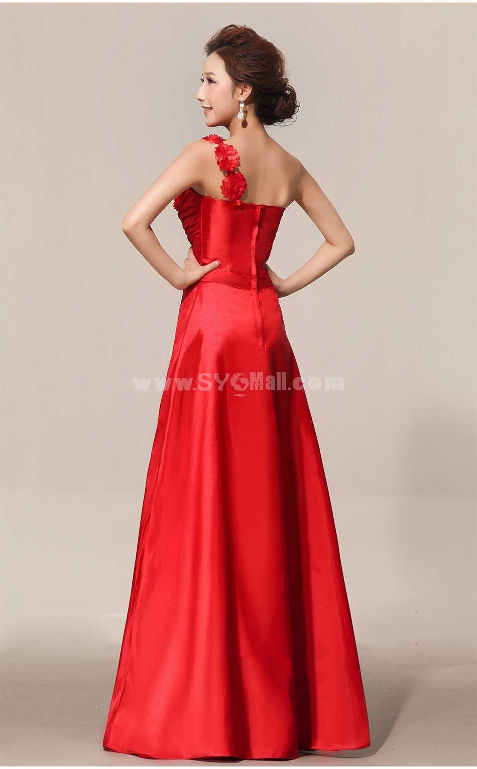 One Shoulder Floor-length Flora Chiffon Zipper Wedding Dress