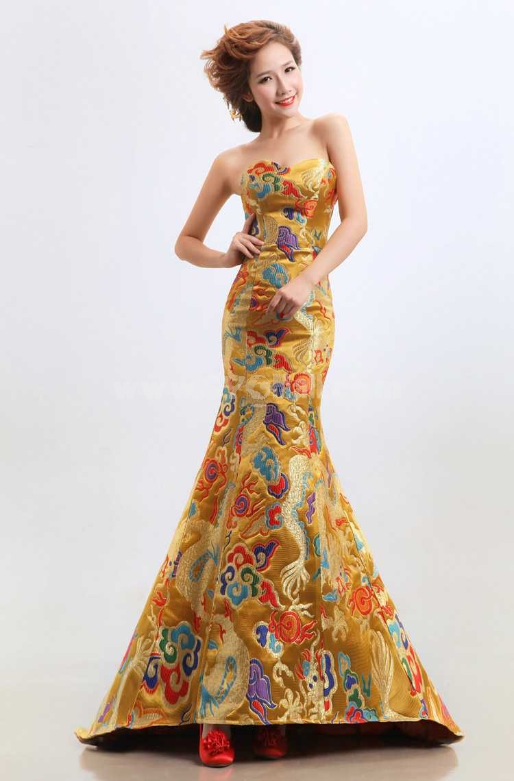 Strapless Floor-length Brocade Empire Zipper Mermaid Wedding Dress
