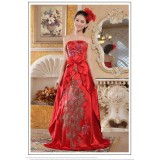 Wholesale - Retro Strapless Embroidery Floor-length Empire Satin Zipper Wedding Dress