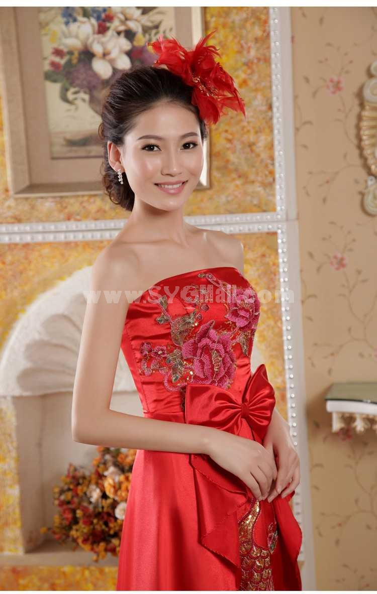 Retro Strapless Embroidery Floor-length Empire Satin Zipper Wedding Dress