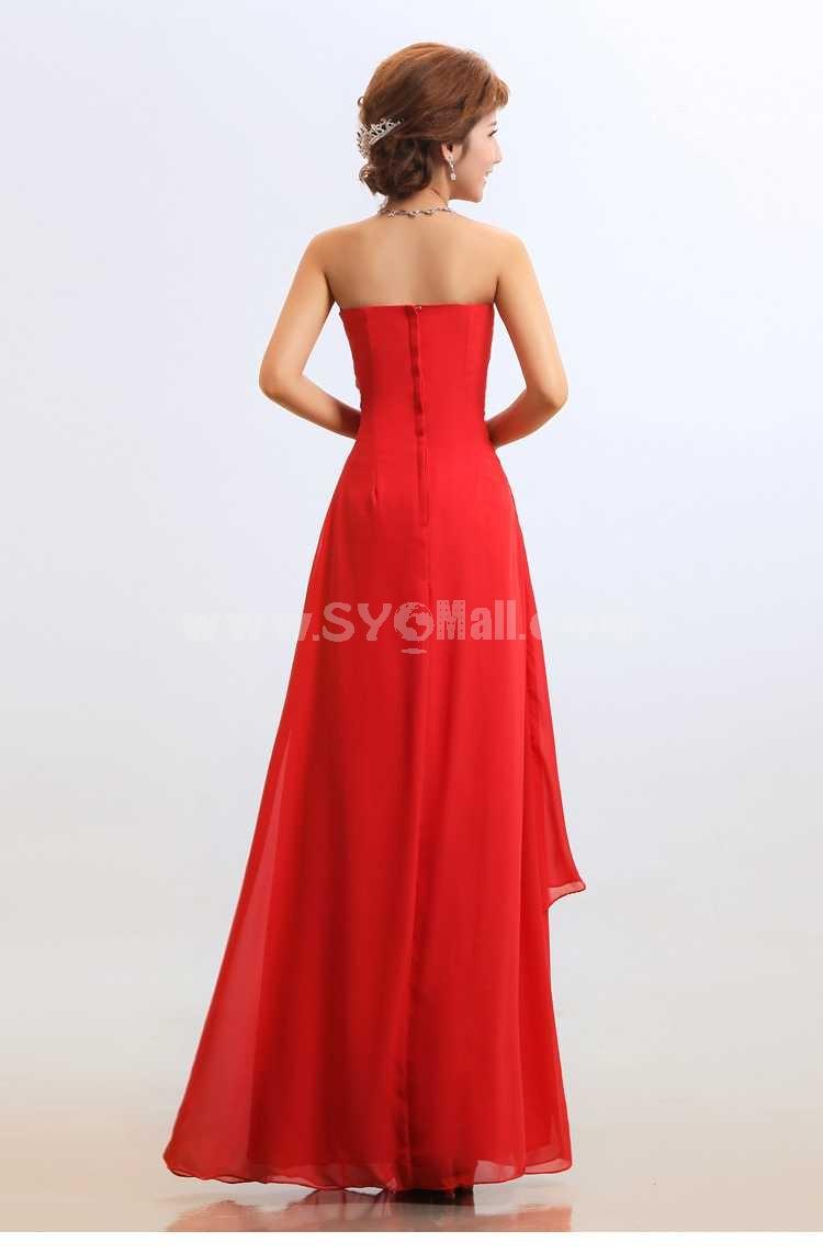 Strapless Floor-length Chiffon Empire Chiffon Zipper Wedding Dress
