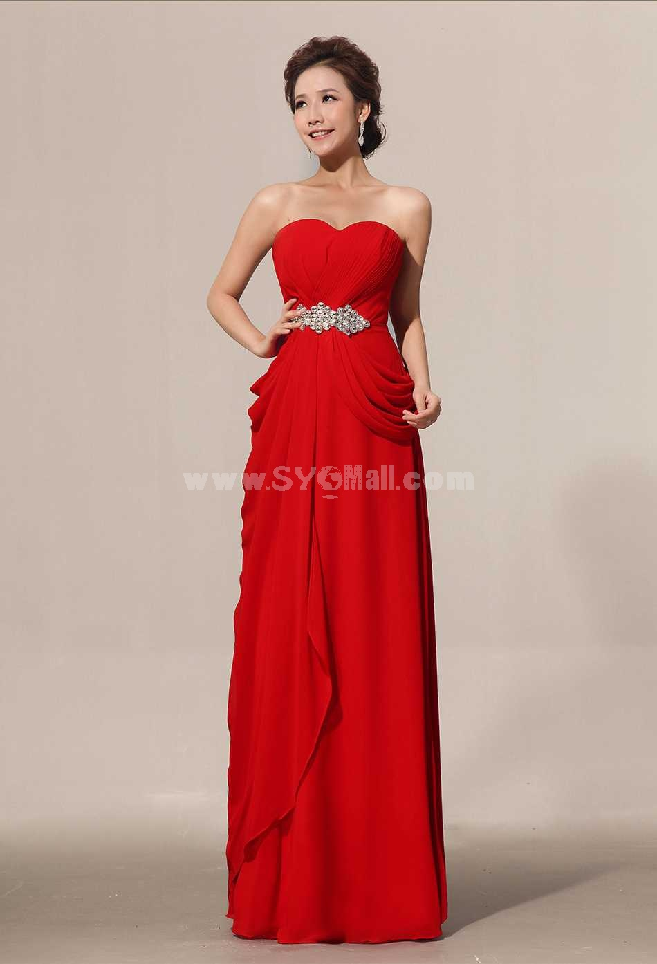 Strapless Floor-length Chiffon Zipper Wedding Dress