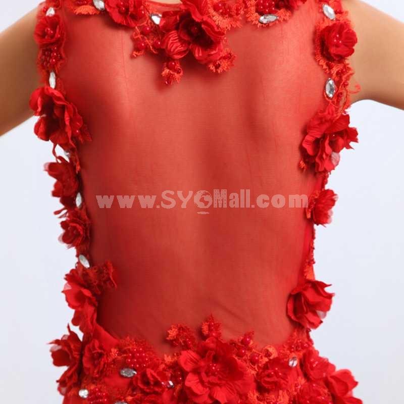 V-neck Hollow Chiffon Floor-length Zipper Wedding Dress