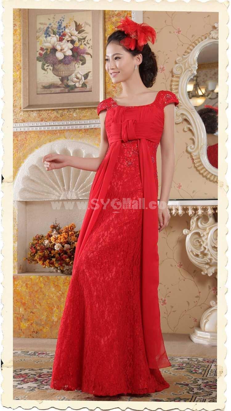 Off-the-shoulder Beading Empire Lace Zipper Wedding Dress