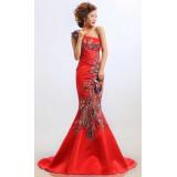 Wholesale - One Shoulder Embroidery Floor-length Lace Zipper Wedding Dress