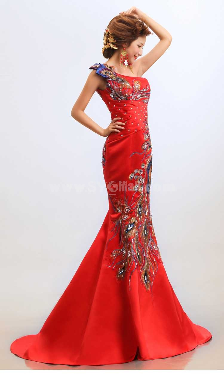 One Shoulder Embroidery Floor-length Lace Zipper Wedding Dress
