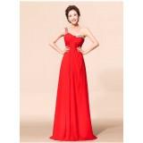 Wholesale - One Shoulder Acrylic Floor-length Chiffon Zipper Wedding Dress