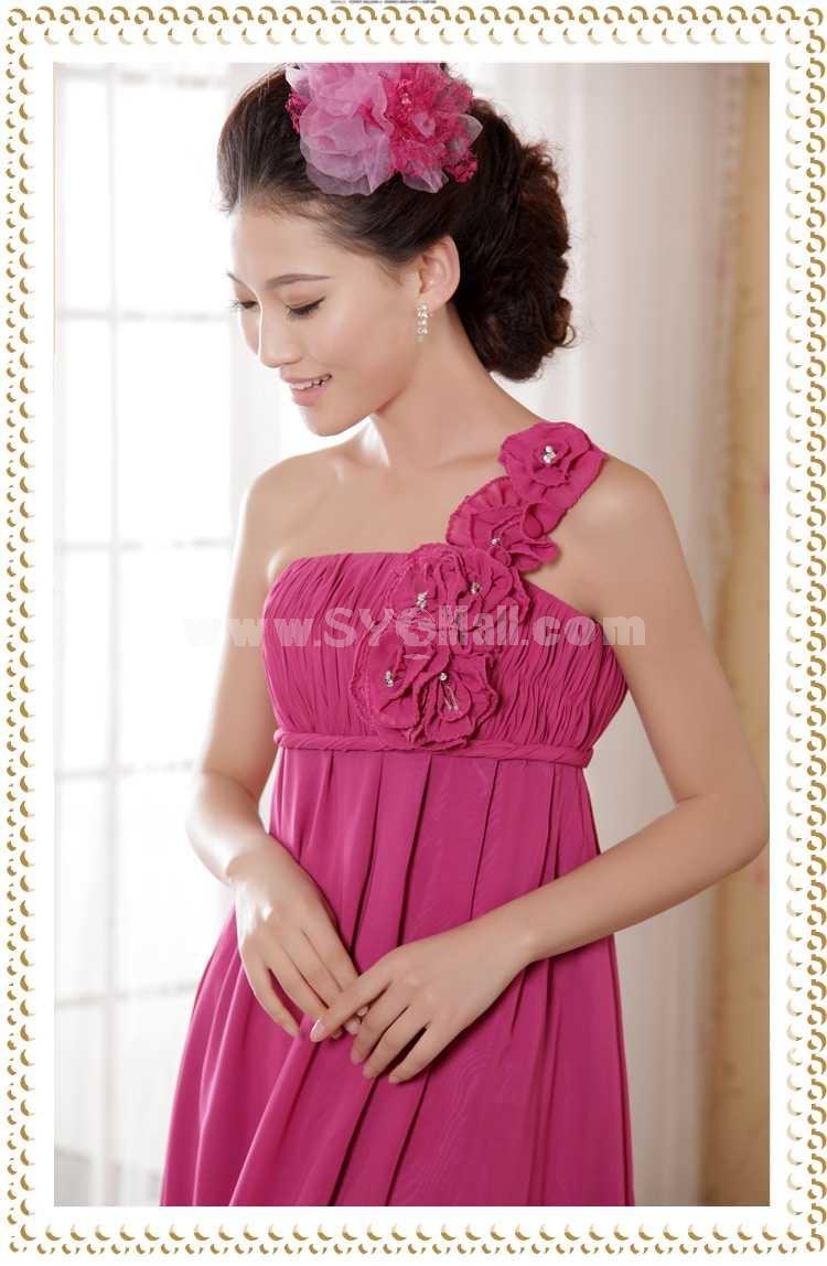 One Shoulder Empire Floor-length Flora Chiffon Zipper Wedding Dress