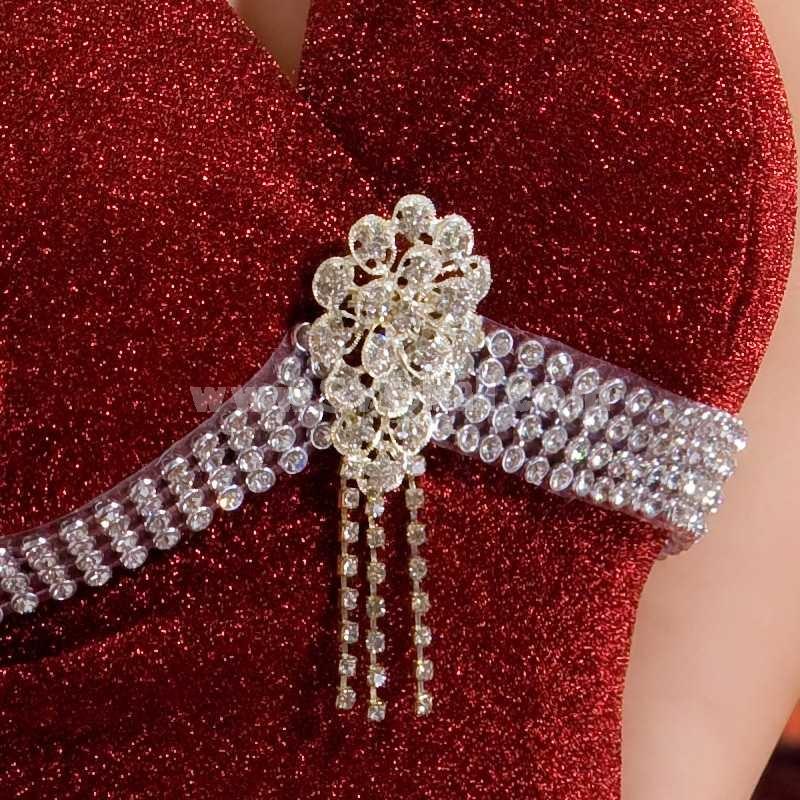 V-neck Silk Empire Zipper Wedding Dress