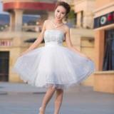 Wholesale - Strapless Short/Mini Tulle Satin Zipper Empire Wedding Dress LF90