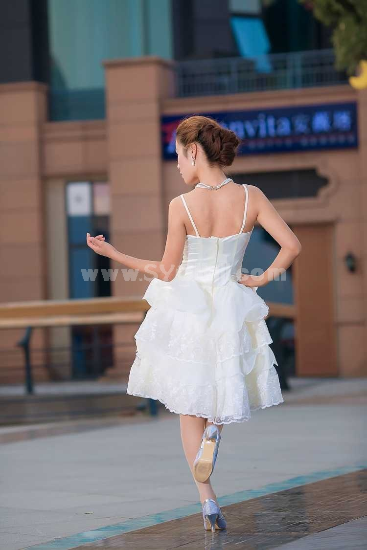 Straps Short/Mini Chiffon Satin Zipper Empire Wedding Dress LF96