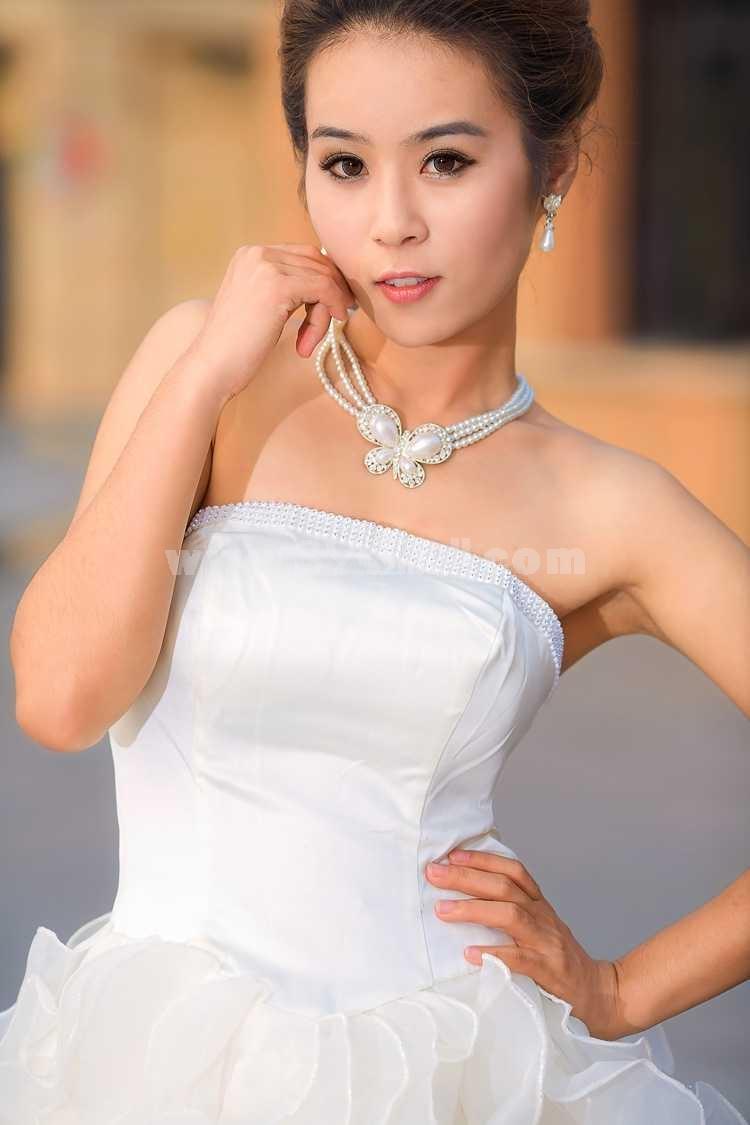 Strapless Short/Mini Chiffon Satin Zipper Empire Wedding Dress LF86