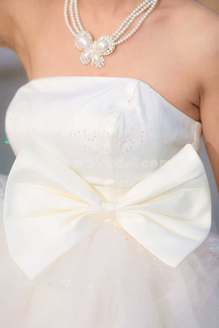 Strapless Short/Mini Chiffon Satin Zipper Empire Wedding Dress LF81