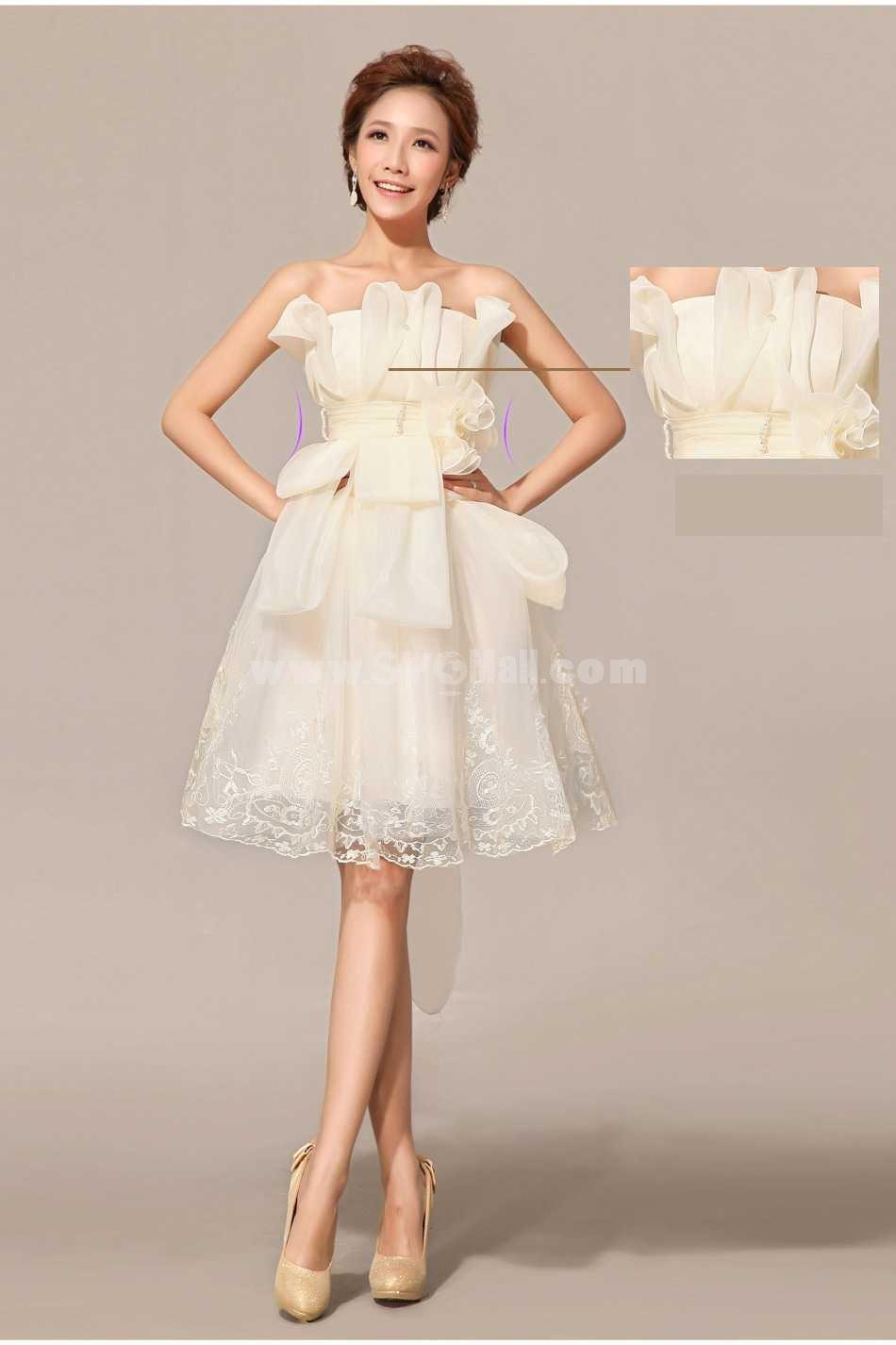 Strapless Short/Mini Chiffon Satin Zipper Wedding Dress LF49