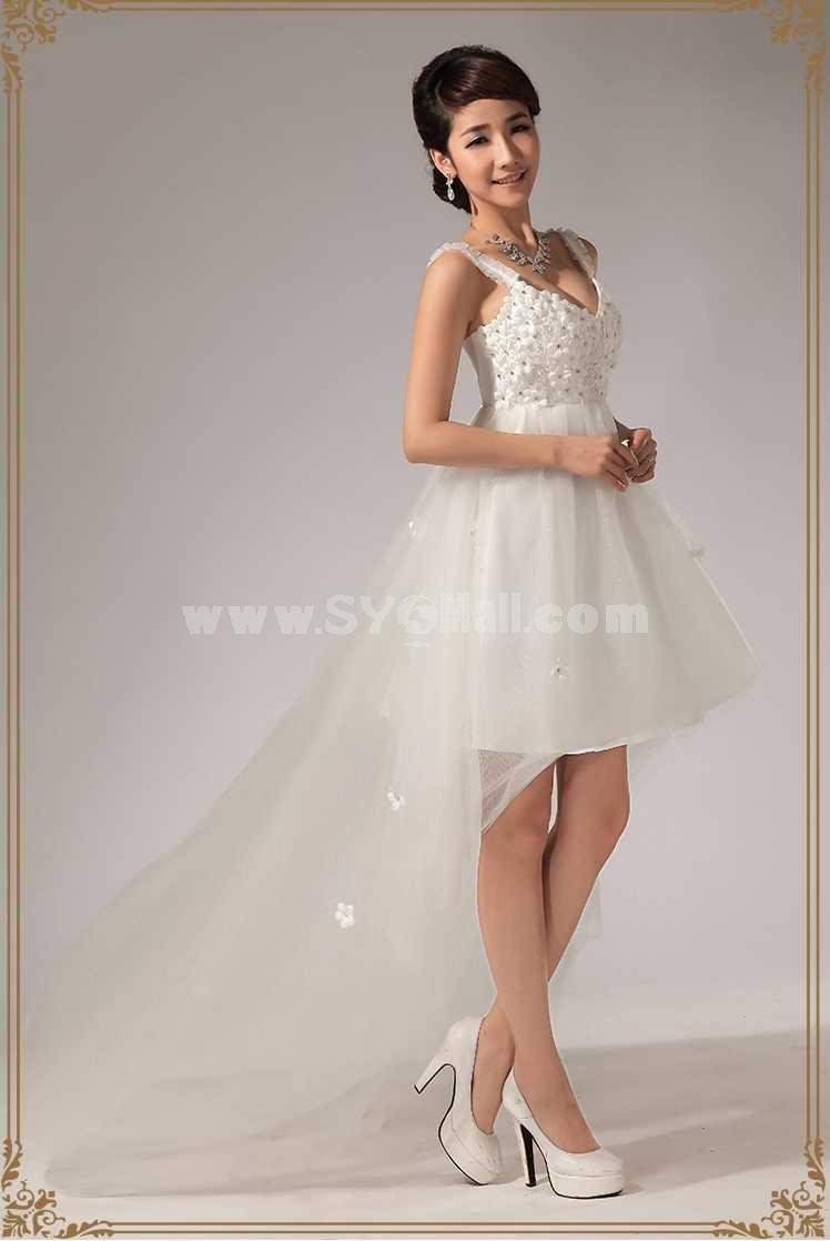 Strapless Short/Mini Chiffon Satin Flora Zipper Wedding Dress LF116