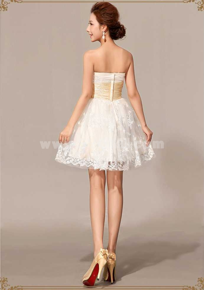 Strapless Short/Mini Lace Zipper Wedding Dress