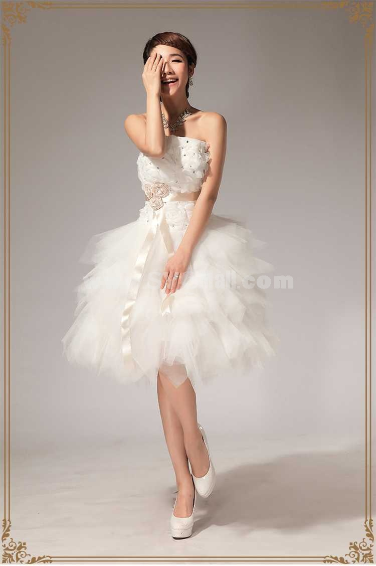 Strapless Short/Mini Flora Lace-up Tulle Wedding Dress LF112