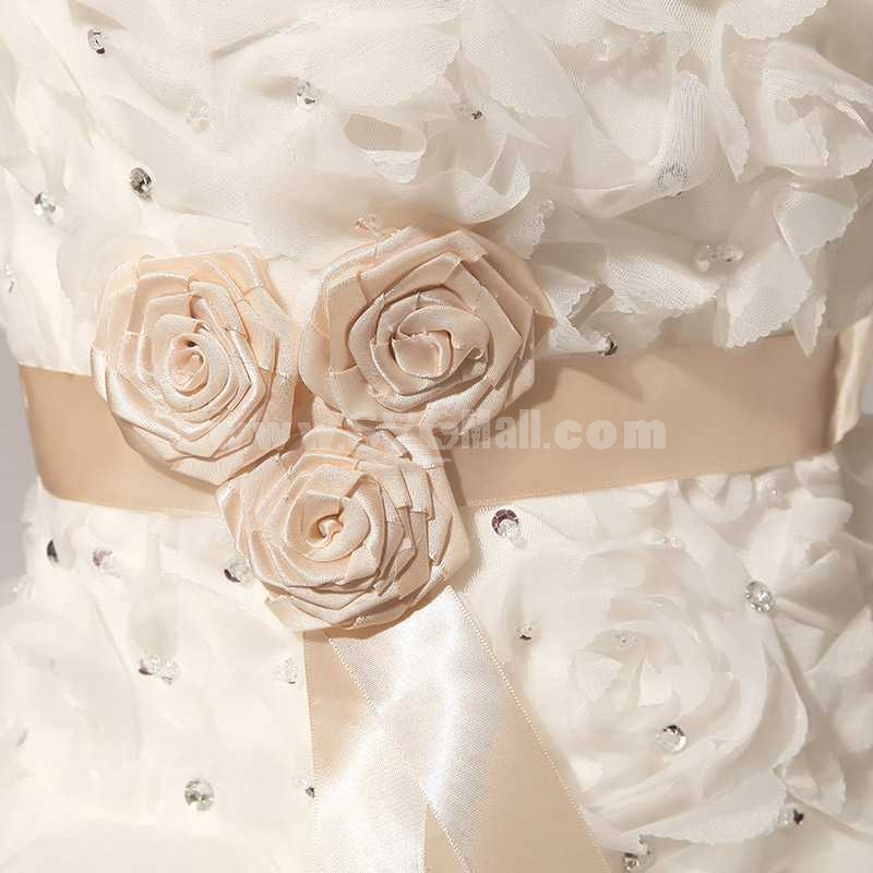 Strapless Short/Mini Flora Lace-up Tulle Wedding Dress LF112