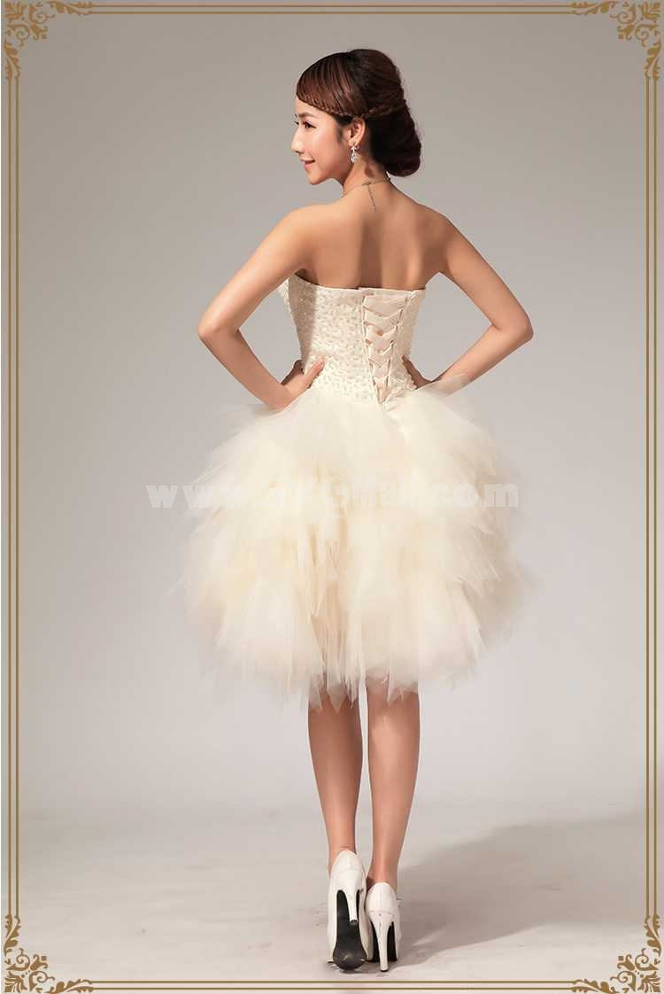 Strapless Short/Mini Flora Lace-up Beading Tulle Wedding Dress LF114