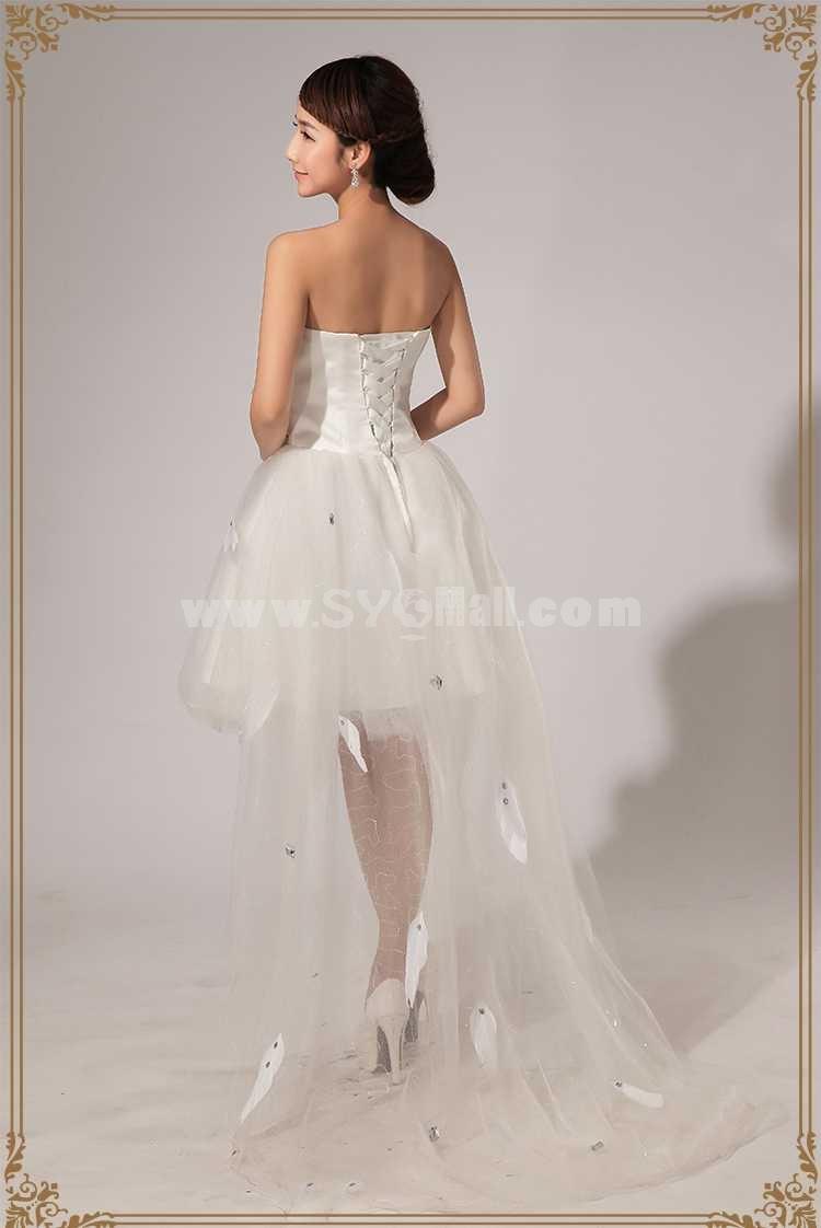 Strapless Short/Mini Tulle Zipper Lace-up Wedding Dress LF115