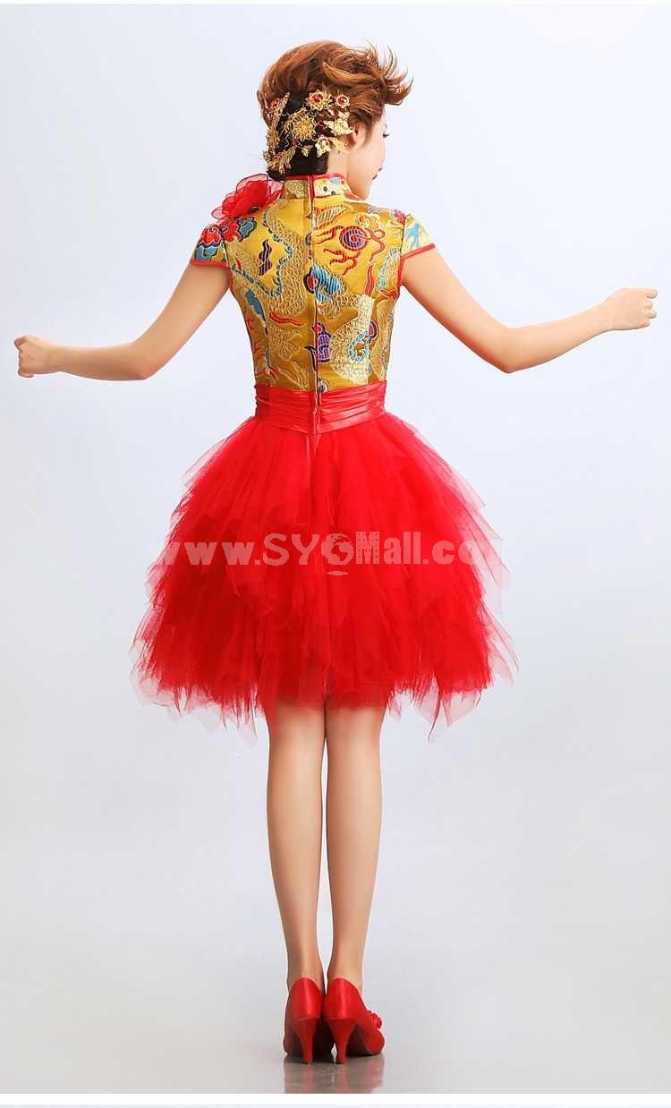 Mandarin Collar Short Sleeve Knee-length Short Cheongsam / Chinese Dress
