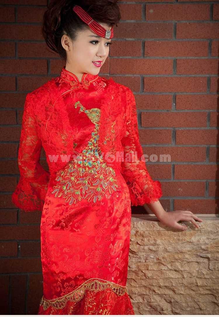 Retro Mandarin Collar Short Sleeve Ankle-length Embroidery Short Cheongsam / Chinese Dress