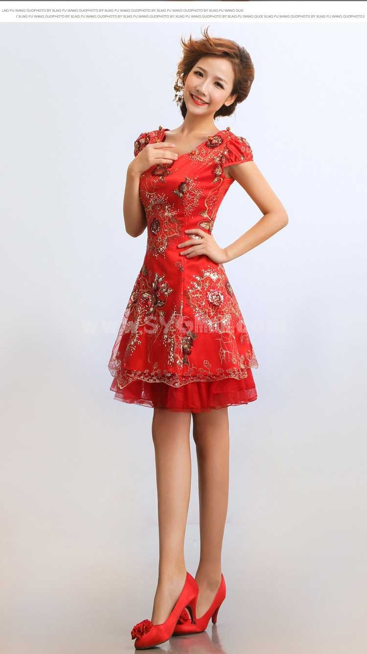 Mandarin Collar Short Sleeve Knee-length Short Embroidery Cheongsam / Chinese Dress