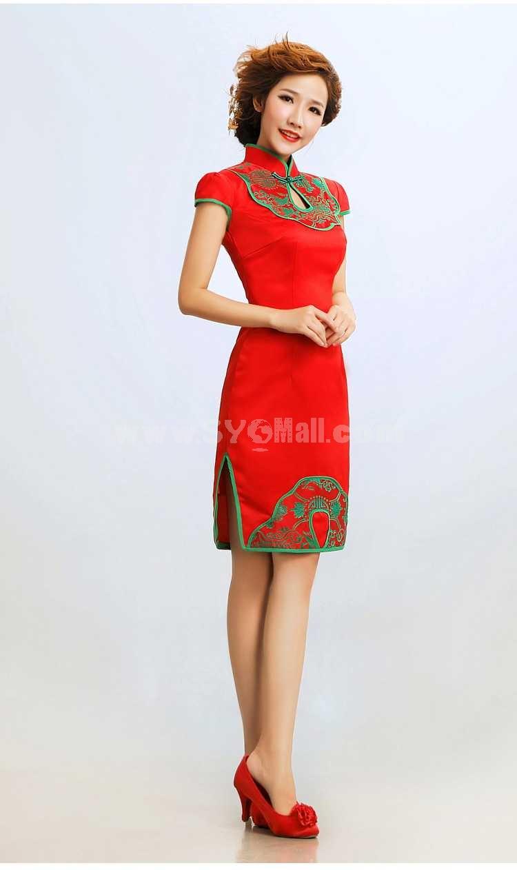 Retro Mandarin Collar Short Sleeve Knee-length Short Cheongsam / Chinese Dress