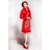 Wholesale - Mandarin Collar Long Sleeve Knee-length Short Cheongsam / Chinese Dress