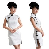 Wholesale - Mandarin Collar Short Sleeve Knee-length Short Cheongsam / Chinese Dress