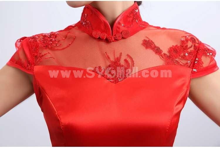 Mandarin Collar Short Sleeve Knee-length Asymetric Cheongsam / Chinese Dress
