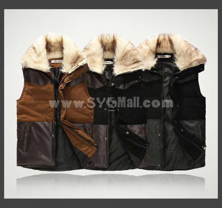 Trendy Fur-Collar Cotton&Leather Vest (1704-CY143)