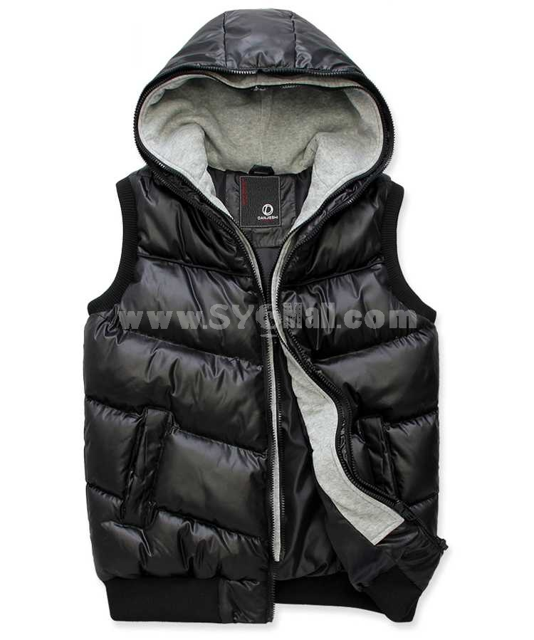 Fashionable Extra-Thick Hooded Cotton Vest (1403-YJ560)