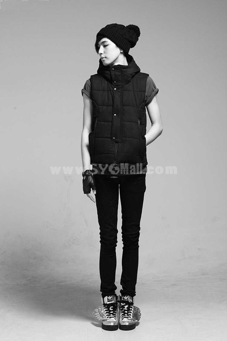 Hot-Selling Short Slim Hooded Cotton Vest (1616-Y173)
