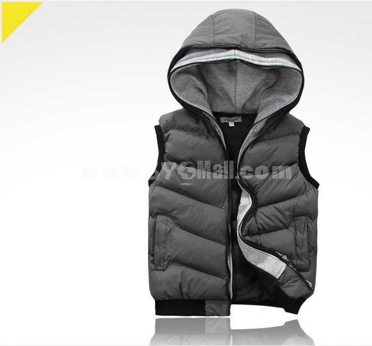 Fashionable Trendy Slim Hooded Cotton Vest (1616-Y330)