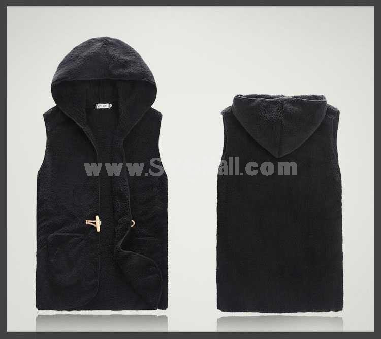 Unique One-Button Design Hooded Woolen Vest (1704-CY127)