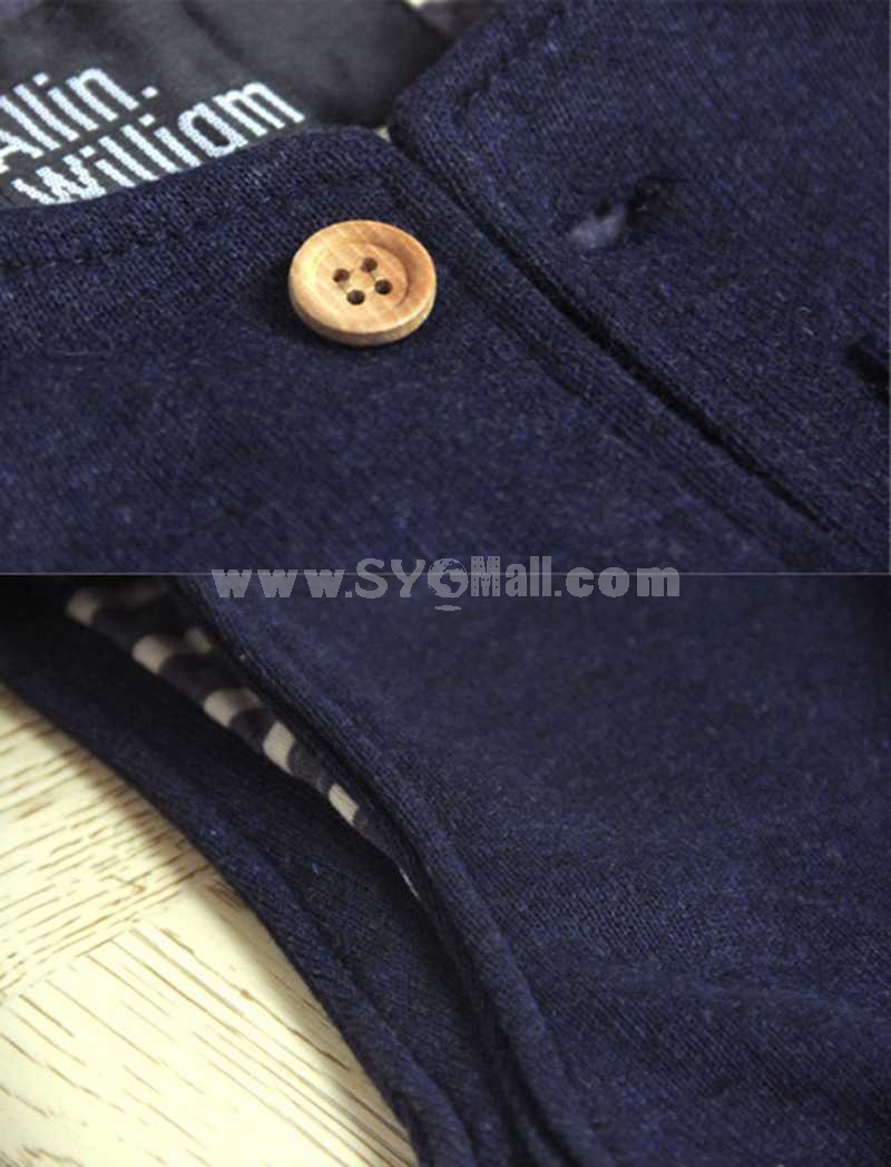 100% Cotton High-Quality Dark Blue Sleeveless Vest (1860-16205)