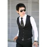 Wholesale - Luxury Slim Casual Black Vest (11-1807-X003)